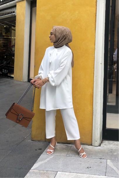 Qasha Store Fiyonk Takım Beyaz